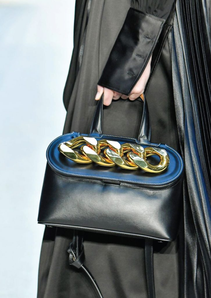Fall Winter Bag Trends Of 2020: metal detailed bags. JW Anderson chain lid bag.