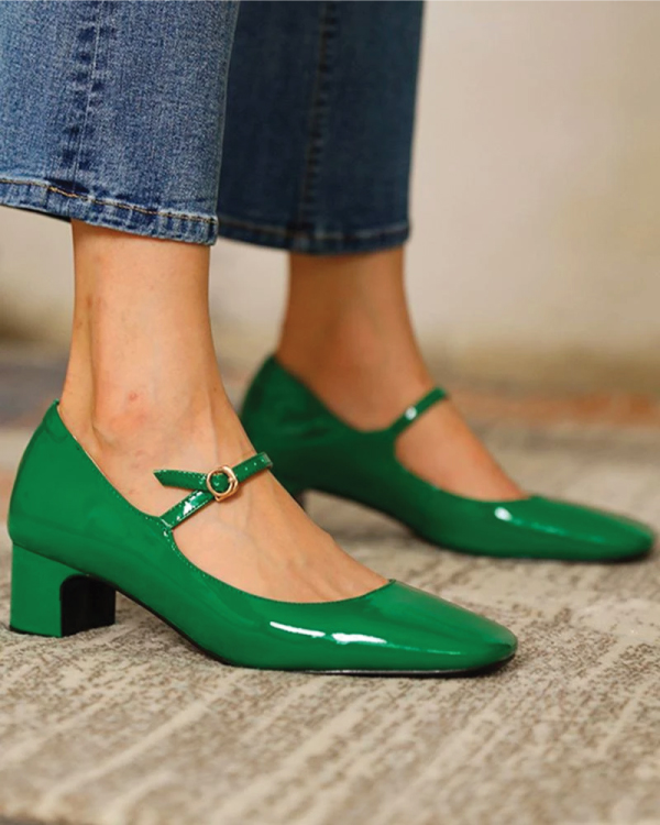 The Major Fall Shoe Trends To Buy Now, Mary Janes. Green Mary Janes with a cute gold strap.