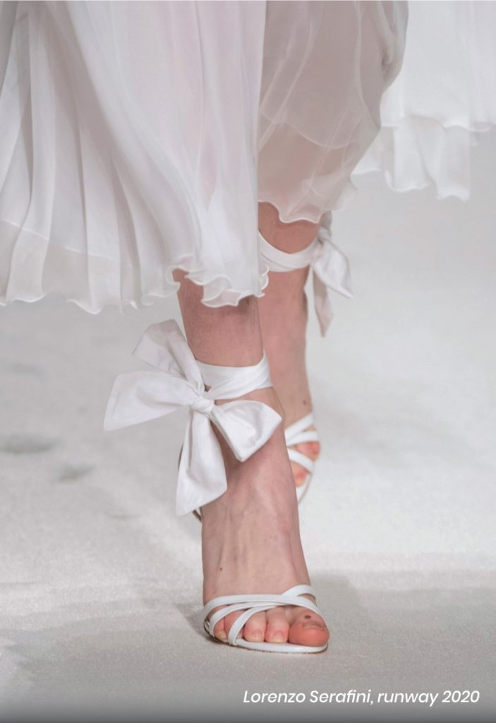 Fall Heel Trends From The Runway To Your Feet. Lorenzo Serafini, runway of 2020, with a bow white heel sandal.