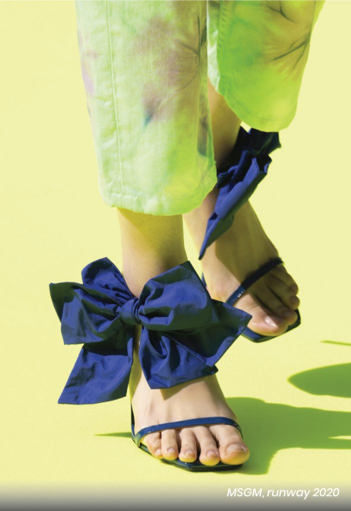 Fall Heel Trends From The Runway To Your Feet. MSGM, runway of 2020, with a bow blue heel sandal.