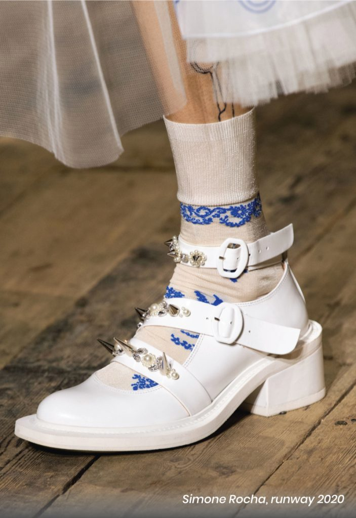 Fall Heel Trends From The Runway To Your Feet. Simone Rocha, runway of 2020. A petite romantic white sandal with grungy metal spikes.