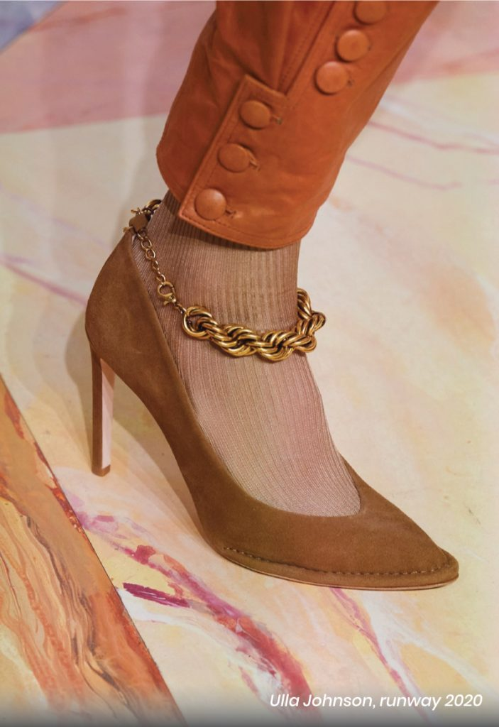 Fall Heel Trends From The Runway To Your Feet. Ulla Johnson, runway of 2020. Metal chain brown pumps.