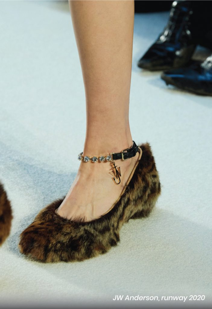 Fall Heel Trends From The Runway To Your Feet. JW Anderson, runway of 2020, with a furry sandal.