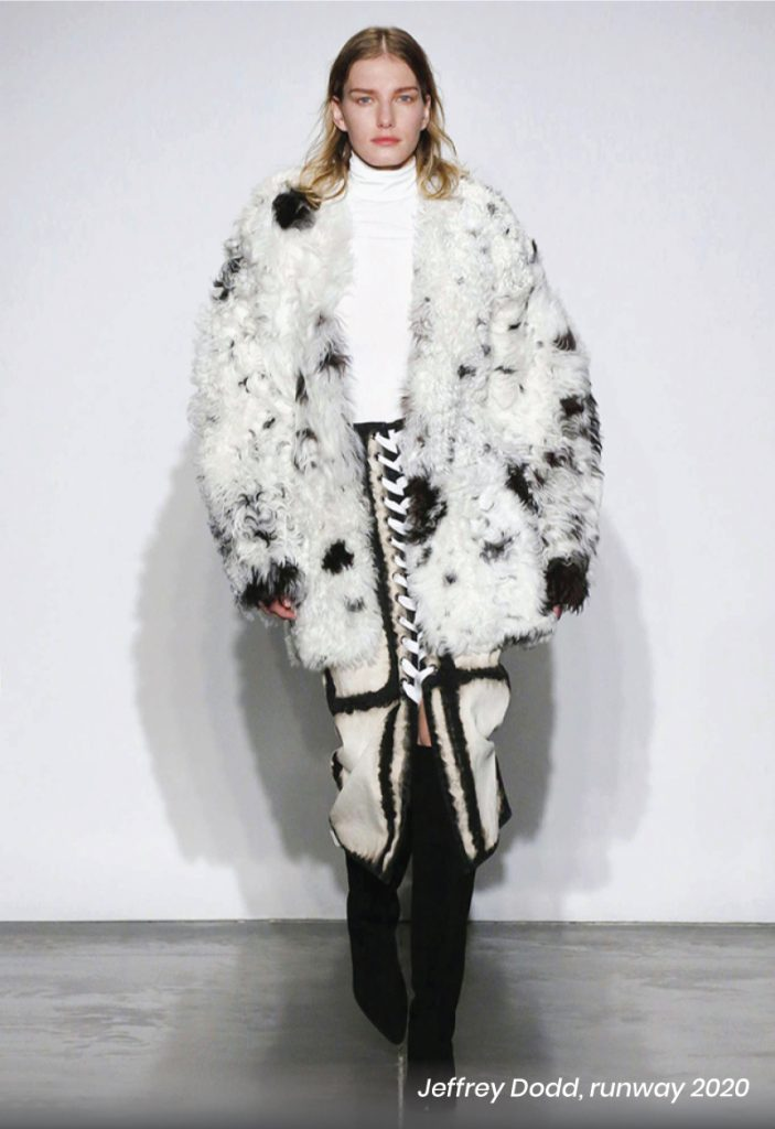 Fall Heel Trends From The Runway To Your Feet. To match with the furry trend, a Jeffrey Dodd furry coat, in black and white.