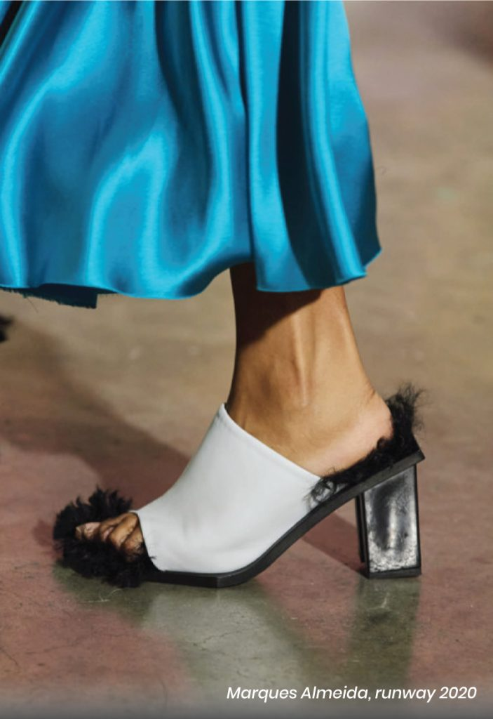 Fall Heel Trends From The Runway To Your Feet. Marques Almeida, runway of 2020. Furry white heel sandal.