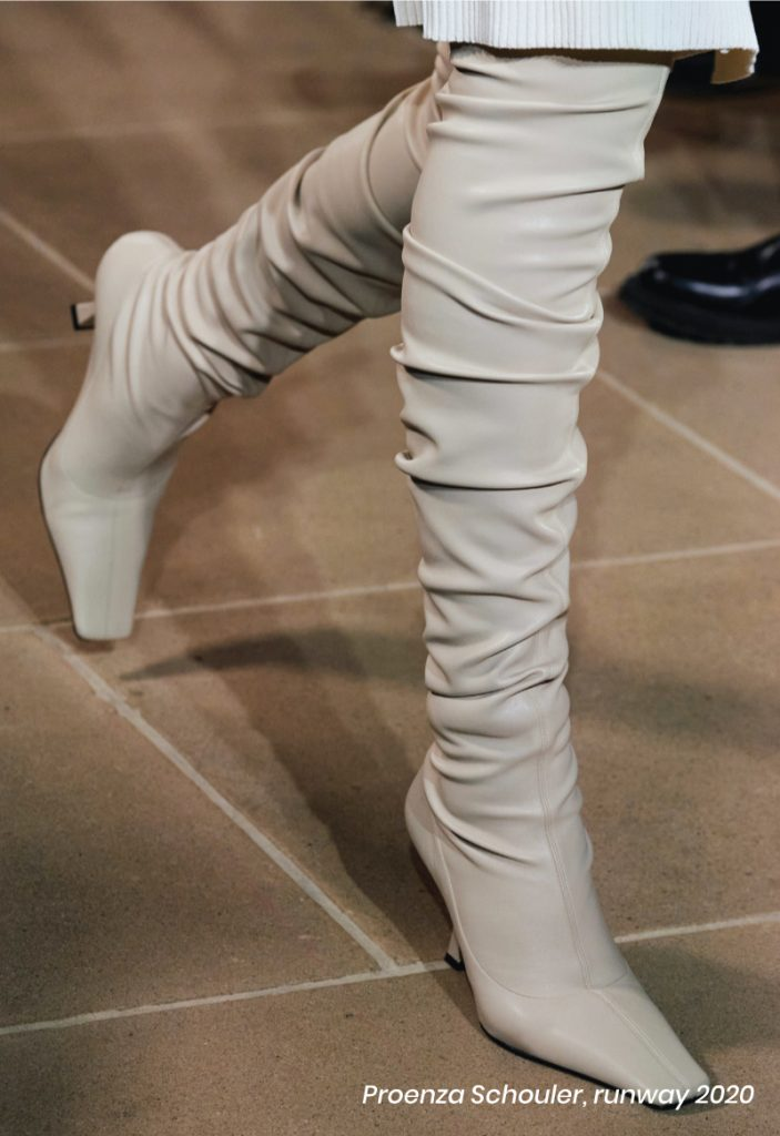 Fall Heel Trends From The Runway To Your Feet. Proenza Shouler, runway of 2020, with white over-the-knee boots.
