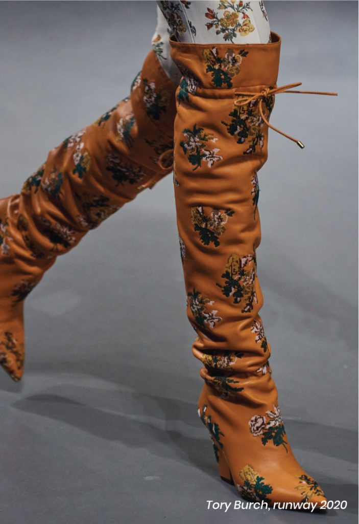 Fall Heel Trends From The Runway To Your Feet. Tory Burch, runway of 2020, with floral print over-the-knee boots.