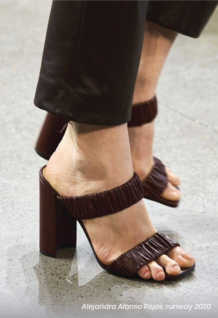 Fall Heel Trends From The Runway To Your Feet. Alejandra Alonso Rojas, runway of 2020. Ruched brown heel sandals.