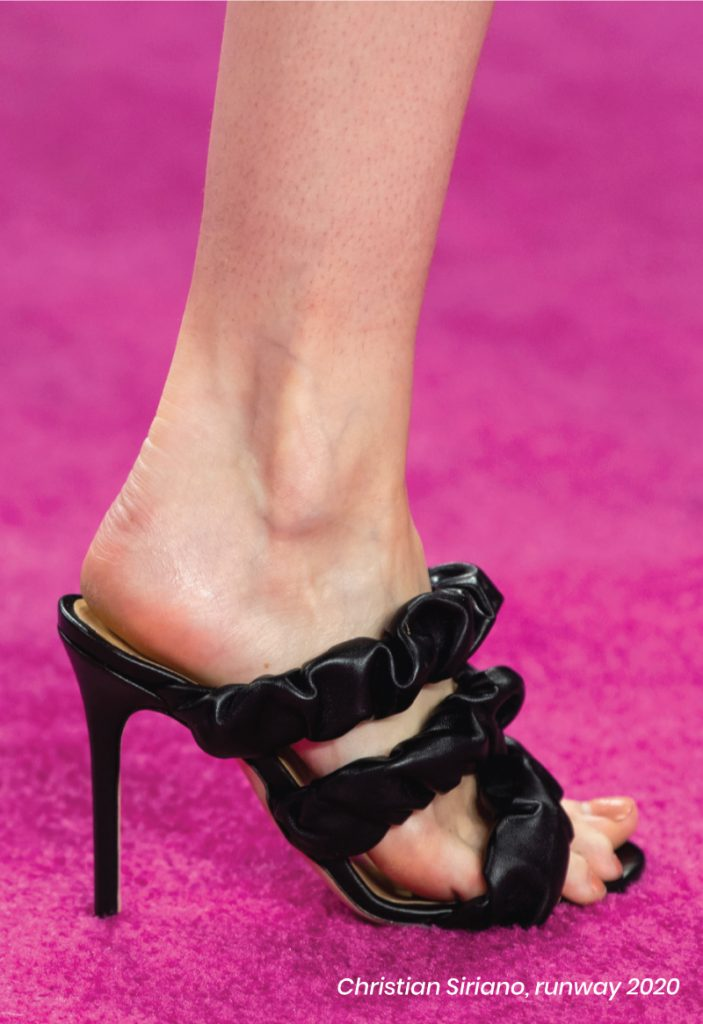 Fall Heel Trends From The Runway To Your Feet. Christian Siriano, runway of 2020. Ruched black heel sandals.