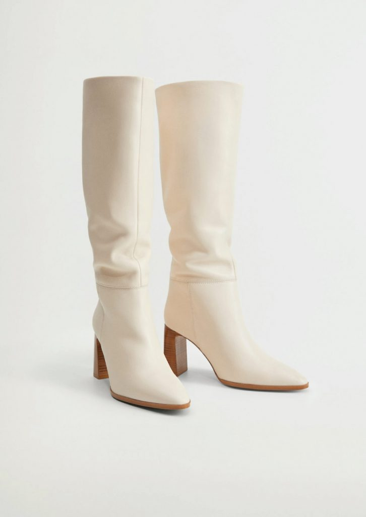 The Boots That Will Fit Perfectly With Your Autumn Jeans. Mango Leather High-Knee Boots