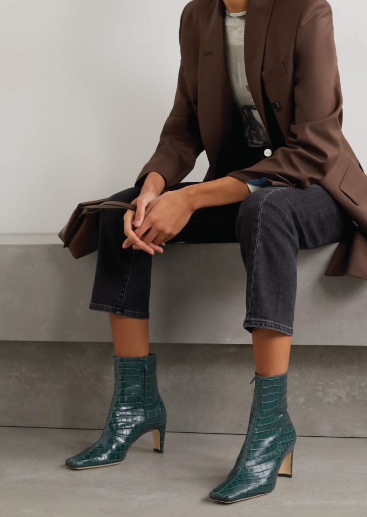 The Boots That Will Fit Perfectly With Your Autumn Jeans. Staud Green Croc-Effect Ankle Boots.