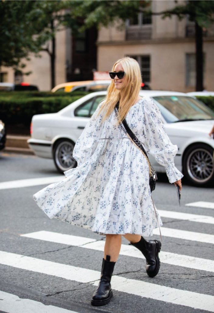 The Outfit You Will Want To Wear All Winter Long - Dress and Boots. Floral midi dress with chunky boots.