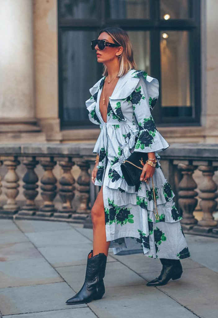 The Outfit You Will Want To Wear All Winter Long - Dress and Boots. Edgy floral midi dress with cowboy boots.