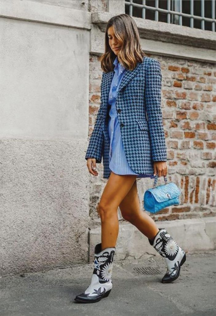 The Outfit You Will Want To Wear All Winter Long - Dress and Boots. Edgy cowboy boots and short blue dress.