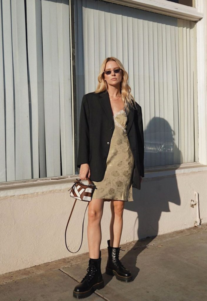 The Outfit You Will Want To Wear All Winter Long - Dress and Boots. Short dress and black boots with oversized blazer on top.