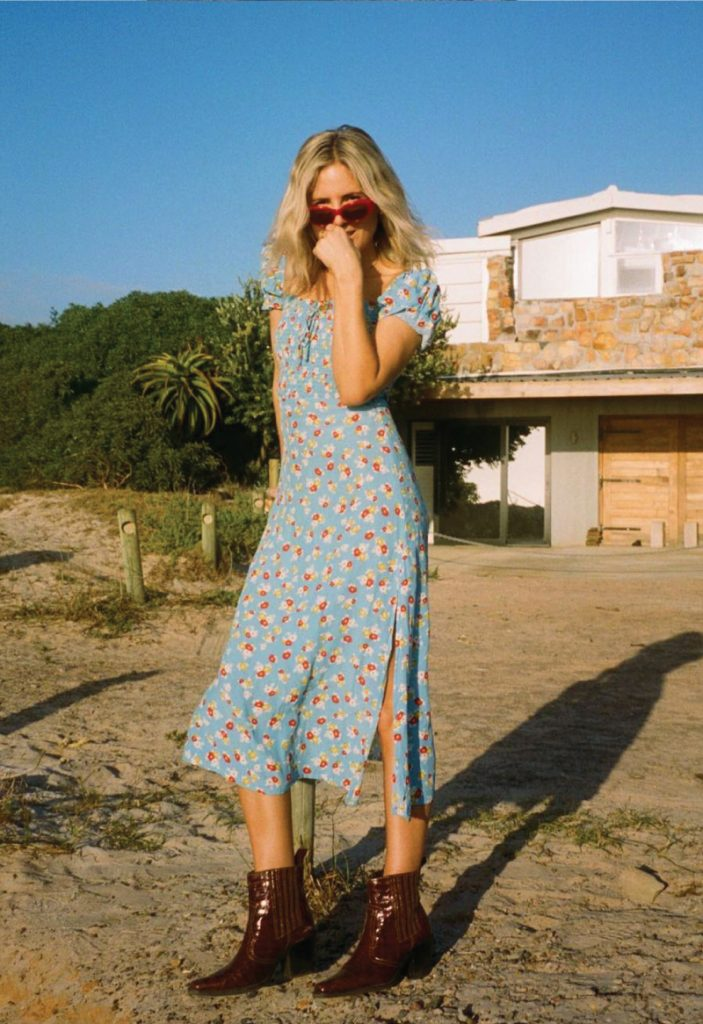 The Outfit You Will Want To Wear All Winter Long - Dress and Boots. Floral dress with cowboy boots.