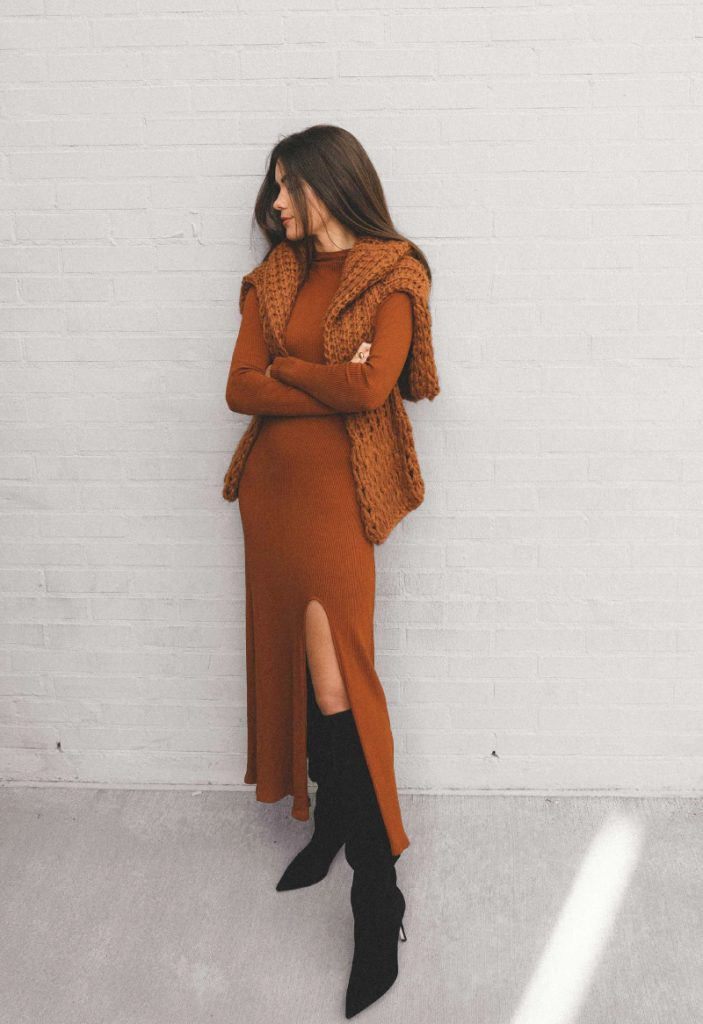 The Outfit You Will Want To Wear All Winter Long - Dress and Boots. Long brown dress and high-knee boots.