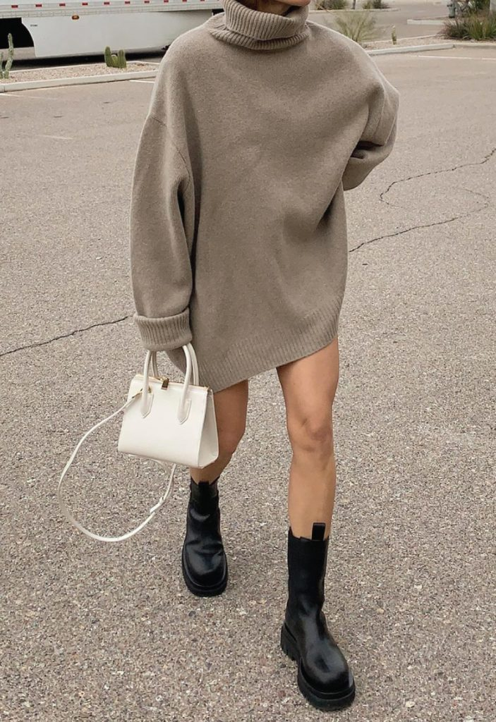 The Outfit You Will Want To Wear All Winter Long - Dress and Boots. A casual neutral dress with chunky black boots.