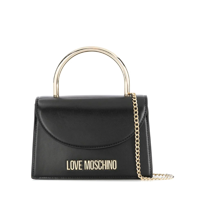 12 Hand Bags That Look Great In The Winter. Evening top handle bag from Love Moschino