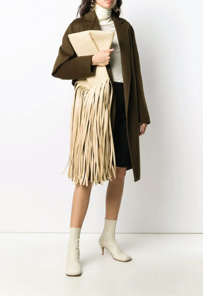 The Coolest Accessories To Own In 2020. Fringe Crisscross clutch from Bottega Veneta