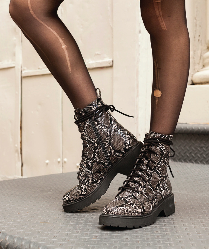 Combat Boots: These Are The Ones We Recommend. Tornado Grey Snake from Steve Madden.