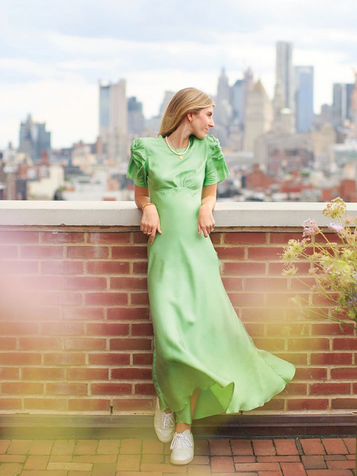 Our Top Favourite Sustainable Brands. Maggie Marilyn in a green dress.