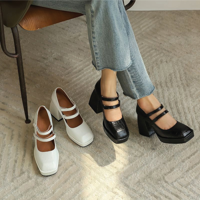 The Fundamental List Of Shoe Trends For 2021. Clunky Mary Janes in black.
