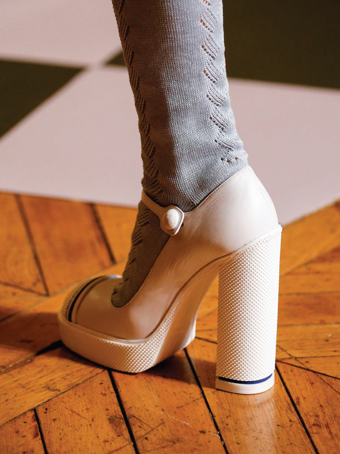 The Fundamental List Of Shoe Trends For 2021. Clunky Mary Janes in white.
