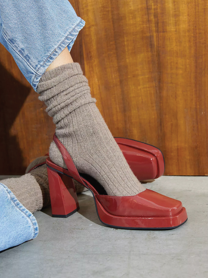 The Fundamental List Of Shoe Trends For 2021. Clunky Mary Janes in red.