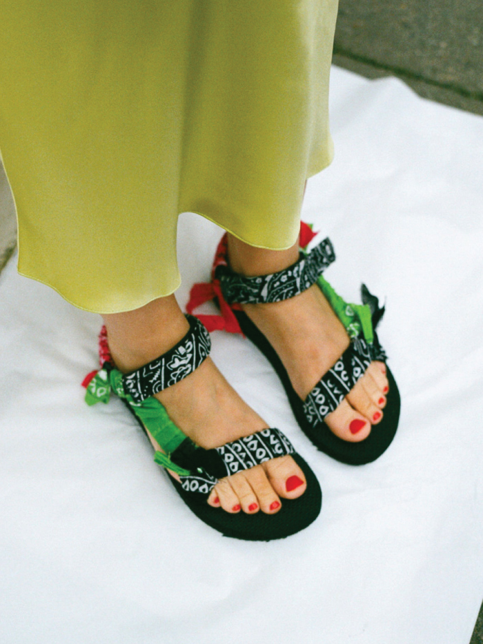 The Sandals That Will Be Out Of Stock Before Spring. Arizona Love sandals, black, green and red bandanas.