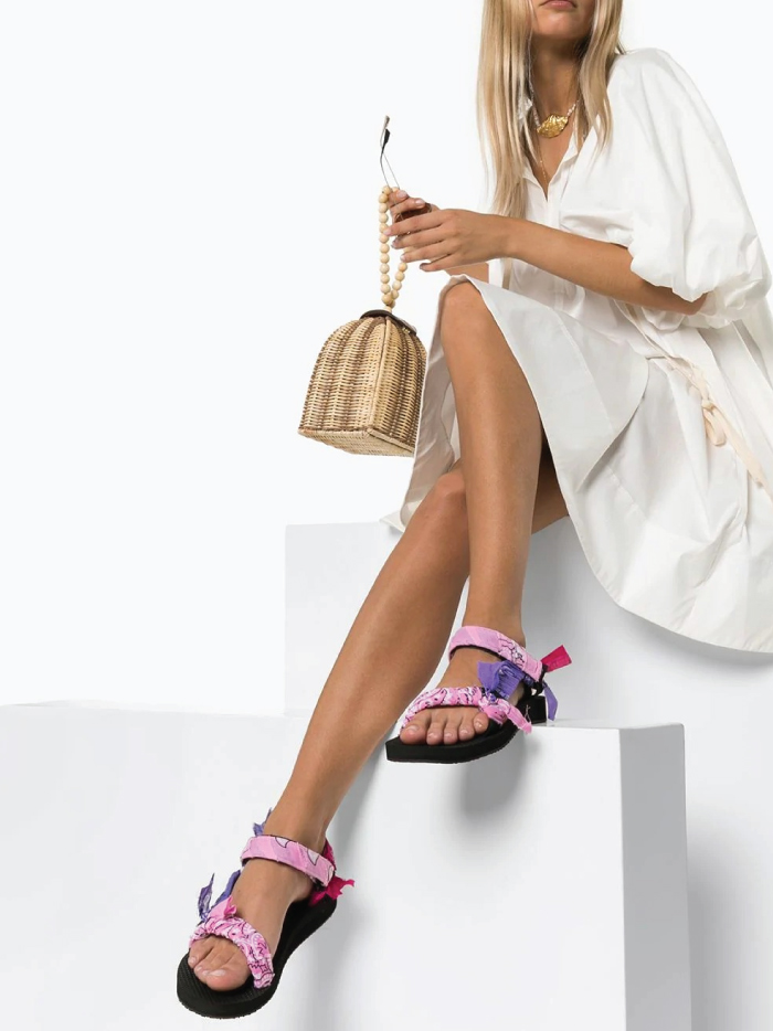 The Sandals That Will Be Out Of Stock Before Spring. Sandal trends: Arizona Love sandals, with pink, red and purple bandanas.