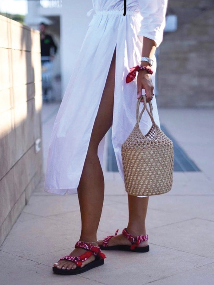 The Sandals That Will Be Out Of Stock Before Spring. Sandal trends: Arizona Love sandals, with a red bandana.