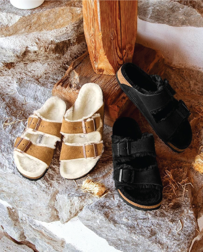 Out With The Slippers, In With This Spring Shoe Trend: Shearling Sandals.
