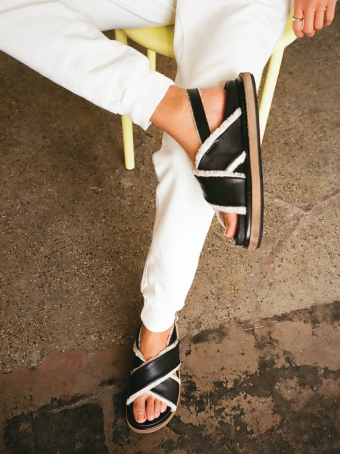 Out With The Slippers, In With This Spring Shoe Trend: criss-crossed marshmallow black leather sandals from Alohas.
