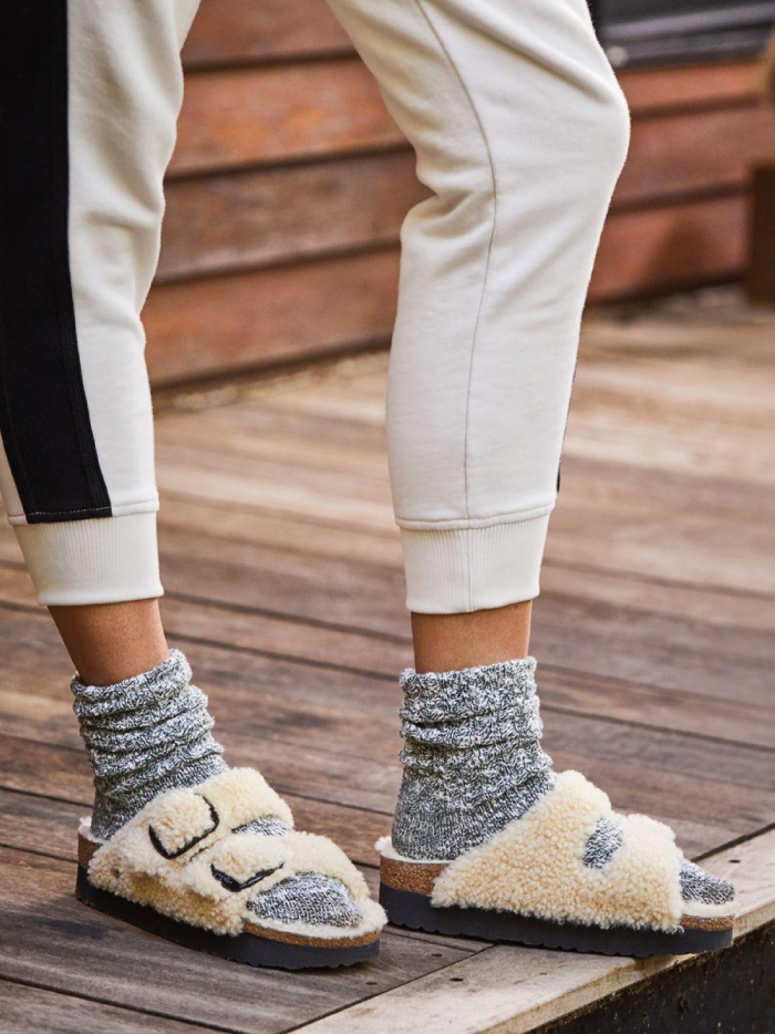 Out With The Slippers, In With This Spring Shoe Trend: Shearling Sandals from Birkenstock.