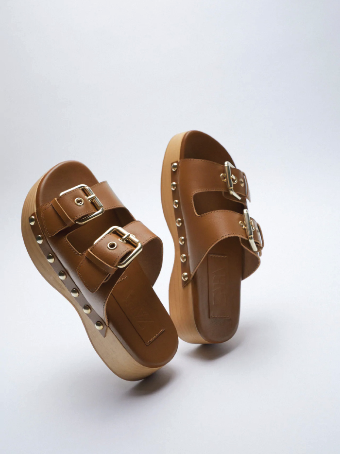 Why Zara Has The Best Shoe Collection For Spring: Buckled Leather Clogs from Zara.