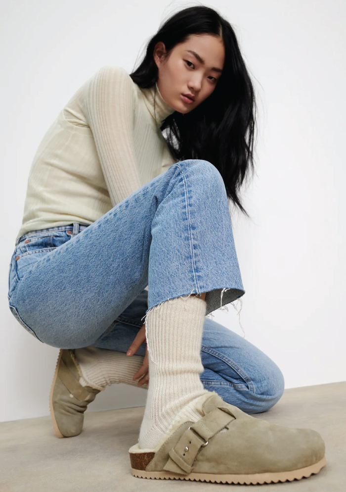 Why Zara Has The Best Shoe Collection For Spring: Faux Shearling Split Suede Clogs from Zara.