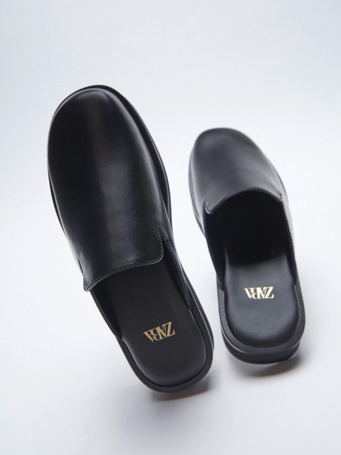 Why Zara Has The Best Shoe Collection For Spring: Minimalist Leather Clogs from Zara.