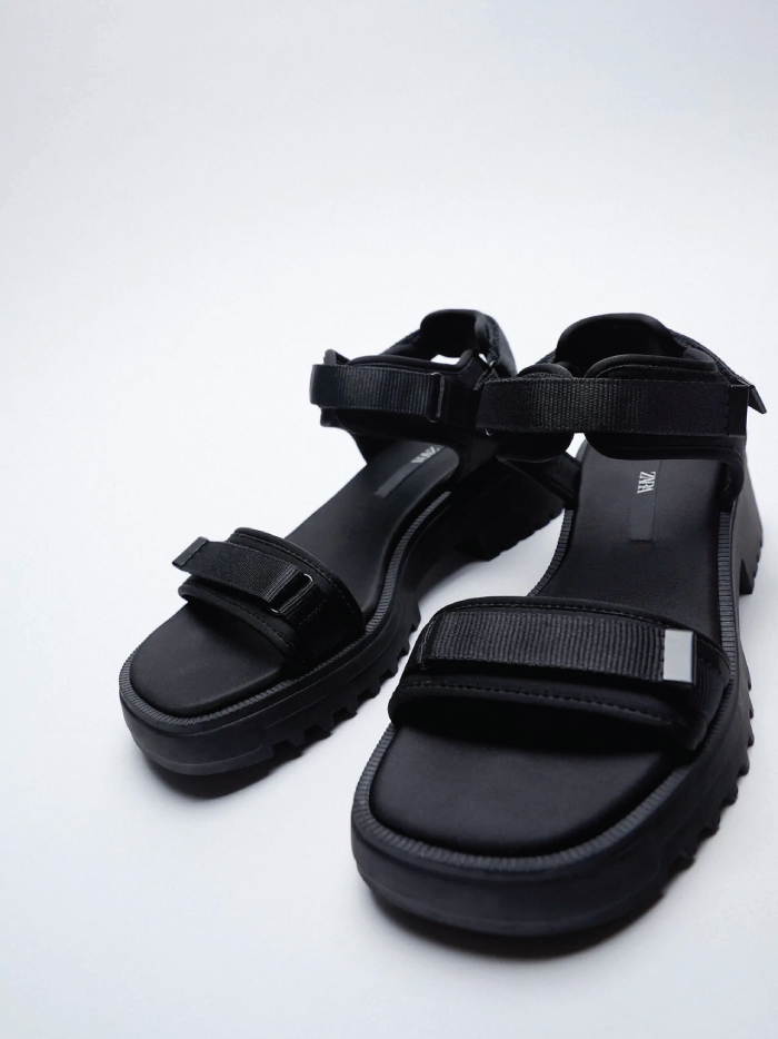 Why Zara Has The Best Shoe Collection For Spring: Flat Sandals With Track Sole from Zara.
