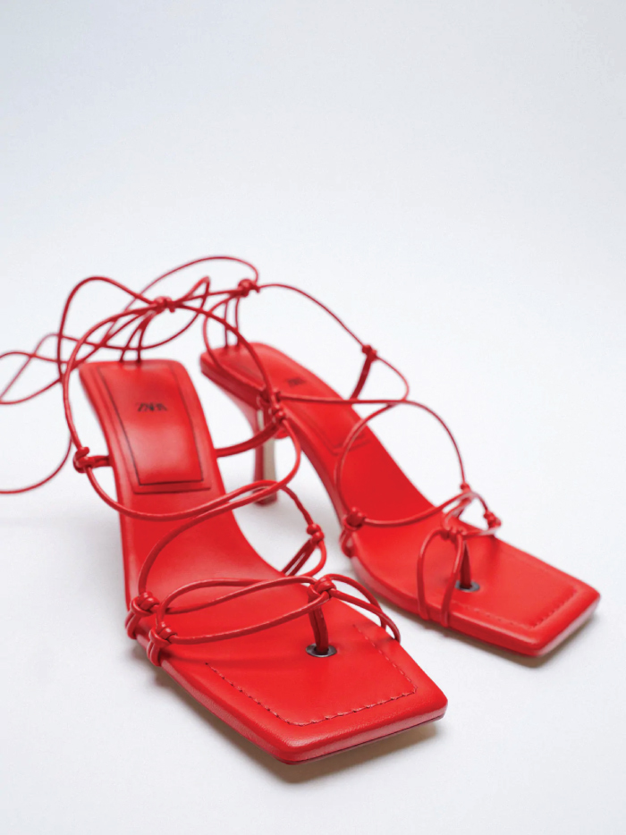 Why Zara Has The Best Shoe Collection For Spring: Heeled Sandals With Tied Straps from Zara.