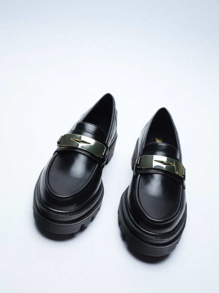 Why Zara Has The Best Shoe Collection For Spring: Loafers With Track Sole from Zara.