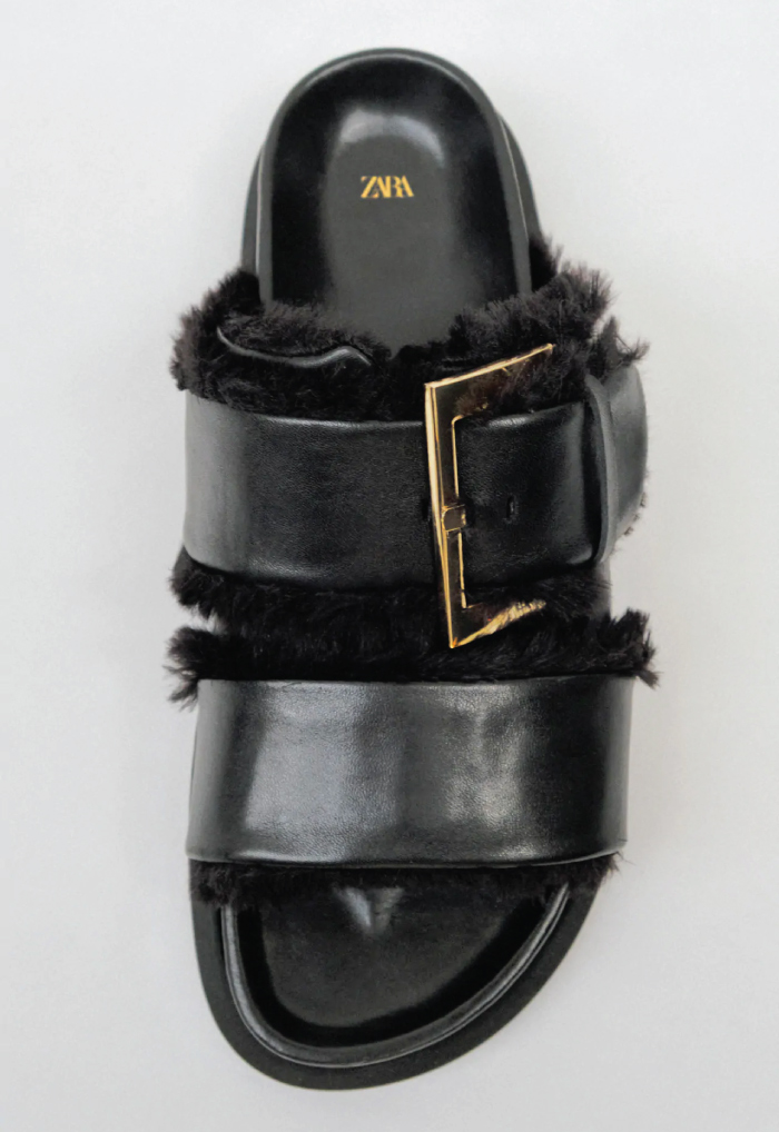 Why Zara Has The Best Shoe Collection For Spring: Flat Leather Sandals With Buckle Detail from Zara.