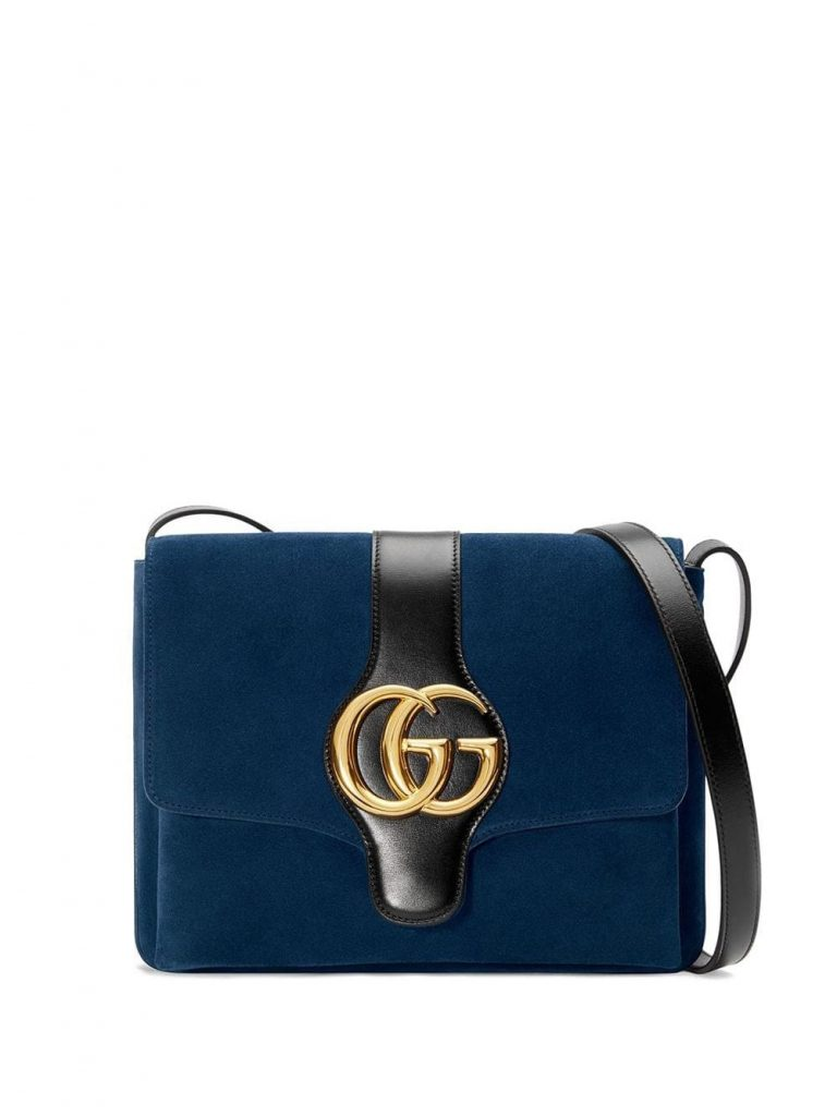 MEDIUM SHOULER BLUE BAG WITH BLACK SRAP AND GOLDEN DETAIS from GUCCI