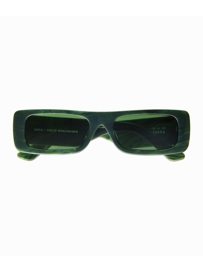 The Accessory That Will Make Everything Look Cooler In The Summer: sunglasses from Polite Worldwide, Terra Sunglasses in green.