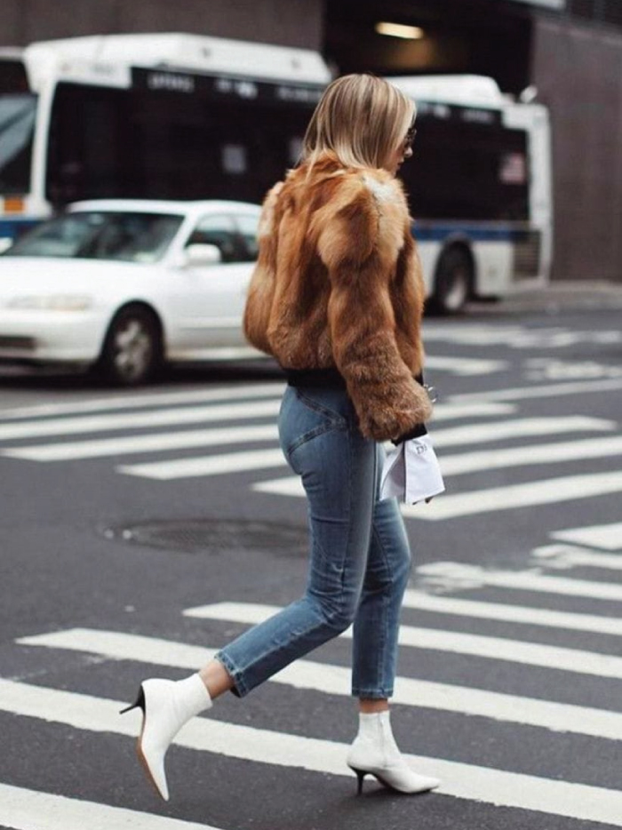 The Boots Everyone Will Wear For The Next Months. White Kitten-Heel Boots with jeans and a fur coat.