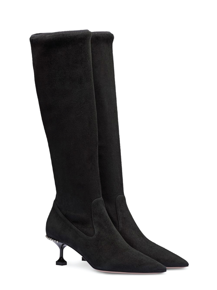 The Boots Everyone Will Wear For The Next Months. Stretch Kitten-Heel Boots from Miu Miu.