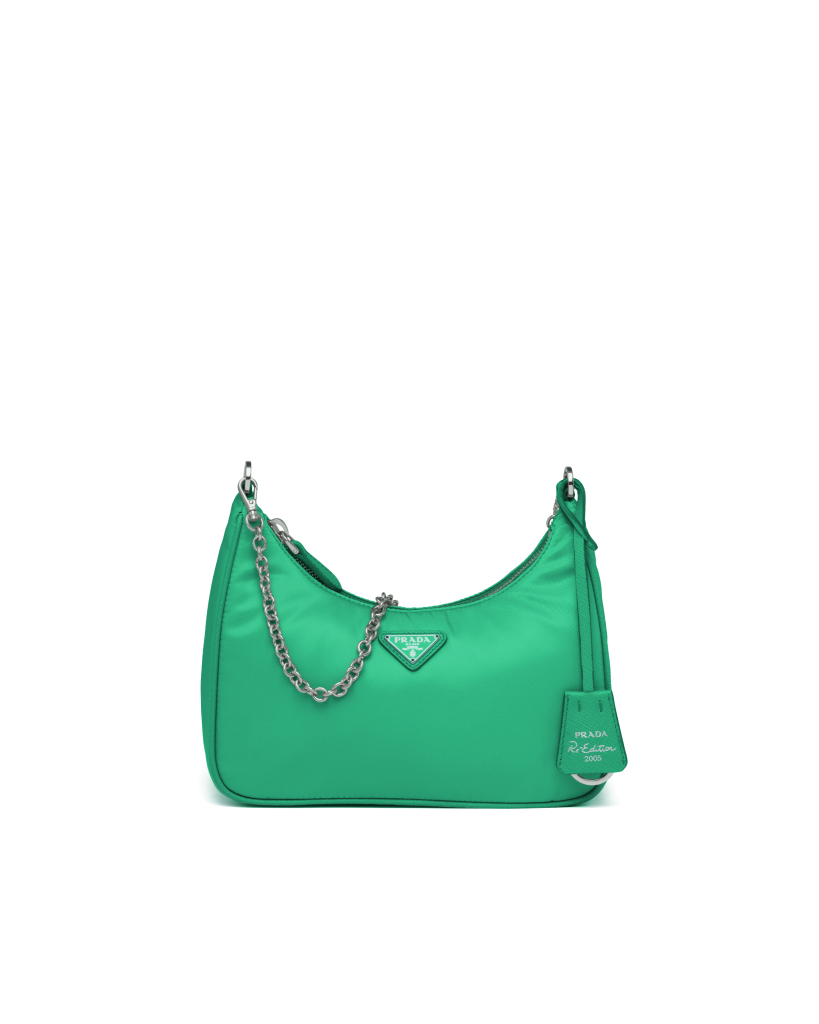 GREEN PRADA SHOULDER BAG WHITH A SILVER CHAIN from PRADA
