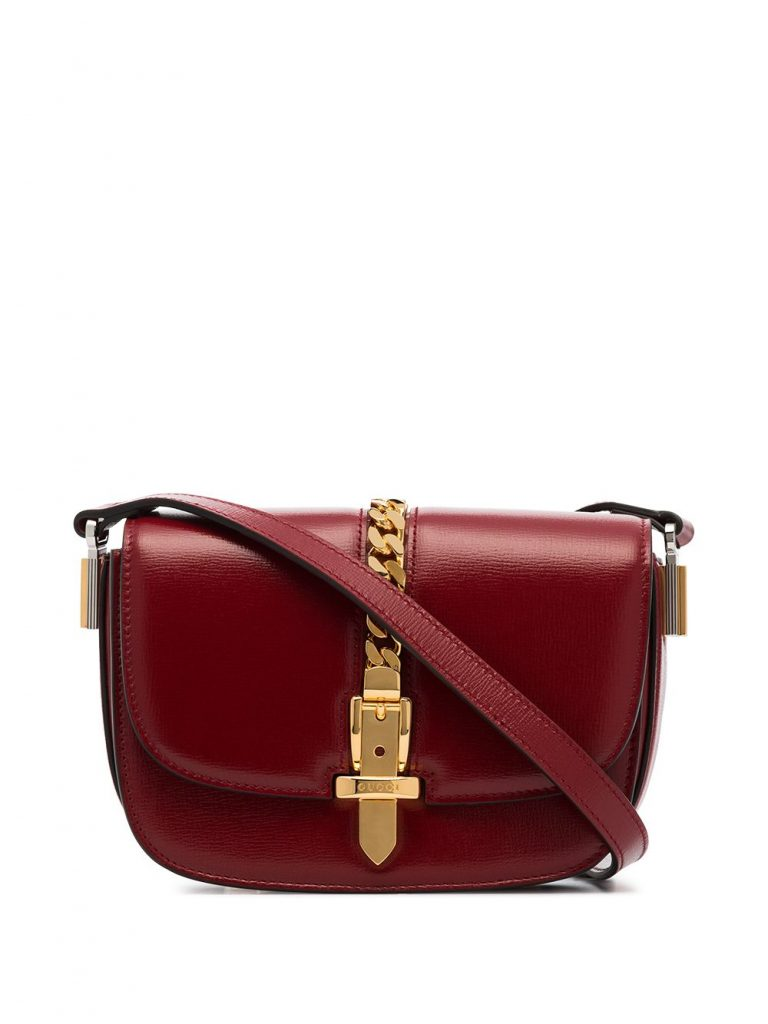 RED LEATHER CROSSBODY BAG WITH GOLDEN DETAILS from GUCCI