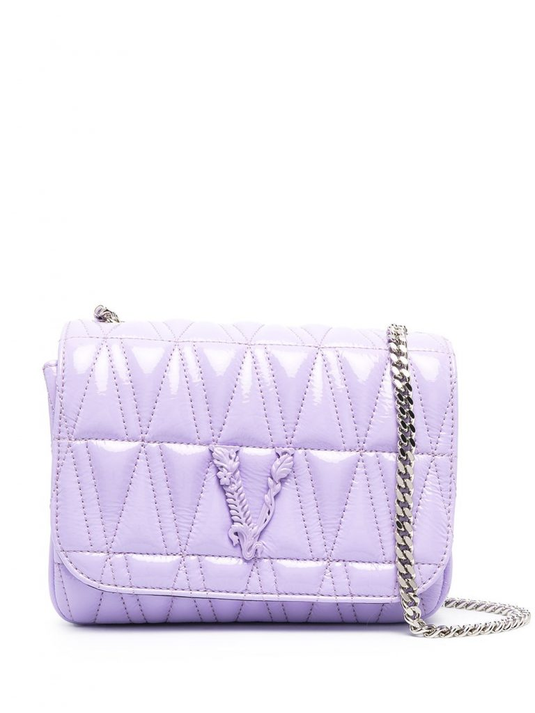 PURPLE QUILTED CROSSBODY BAG WITH LOGO PLAQUE from VERSACE