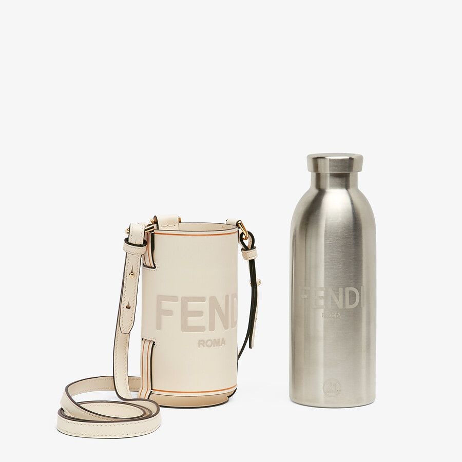 FLASK WITH A CUSTOMISED LID AND FLASK HOLDER WITH AN ADJUSTABLE SHOULDER STRAP from FENDI